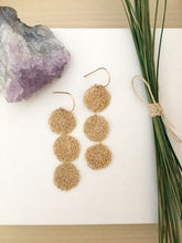 Load image into Gallery viewer, Long gold fill lacy disc earrings