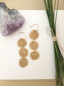 Long gold fill lacy disc earrings