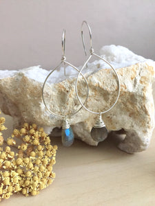 Gemstone and sterling silver hoop style earrings with labradorite