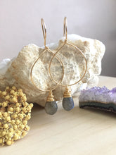 Load image into Gallery viewer, Gold Fill and labradorite gemstone hoop earrings