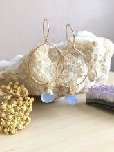 Load image into Gallery viewer, Gold Fill Hoop earrings with a wire wrapped chalcedony gemstone drop