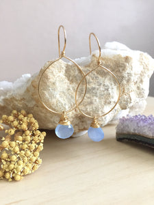 Gold Fill Hoop earrings with a wire wrapped chalcedony gemstone drop