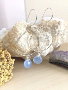 Light Blue Chalcedony drop Hoop earrings in sterling silver