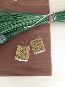 Wire Crochet Square Earrings with Freshwater Pearls