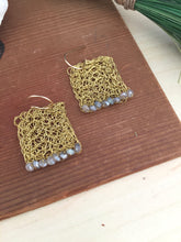 Load image into Gallery viewer, Wire Crochet Square Earrings with Labradorite