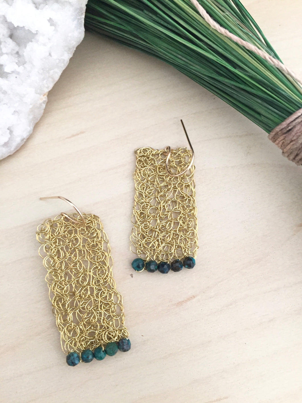Gold tone brass wire crochet rectangle earrings with chrysocholla gemstone beading detail and 14k gold fill ear wires