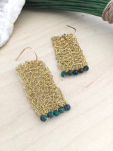 Load image into Gallery viewer, Handmade wire crochet brass earrings with blue green chrysocholla bead details and on hand made 14k gold fill ear wires