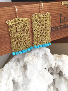 Wire Crochet Rectangle Earrings with Turquoise beads