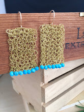 Load image into Gallery viewer, Wire Crochet Rectangle Earrings with Turquoise beads