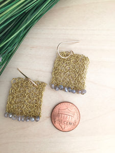 Wire Crochet Square Earrings with Labradorite