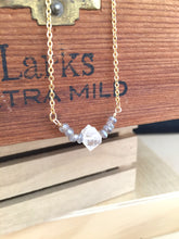 Load image into Gallery viewer, Herkimer Diamond and Labradorite Gemstone V Necklace - Gold finish - April Birthstone