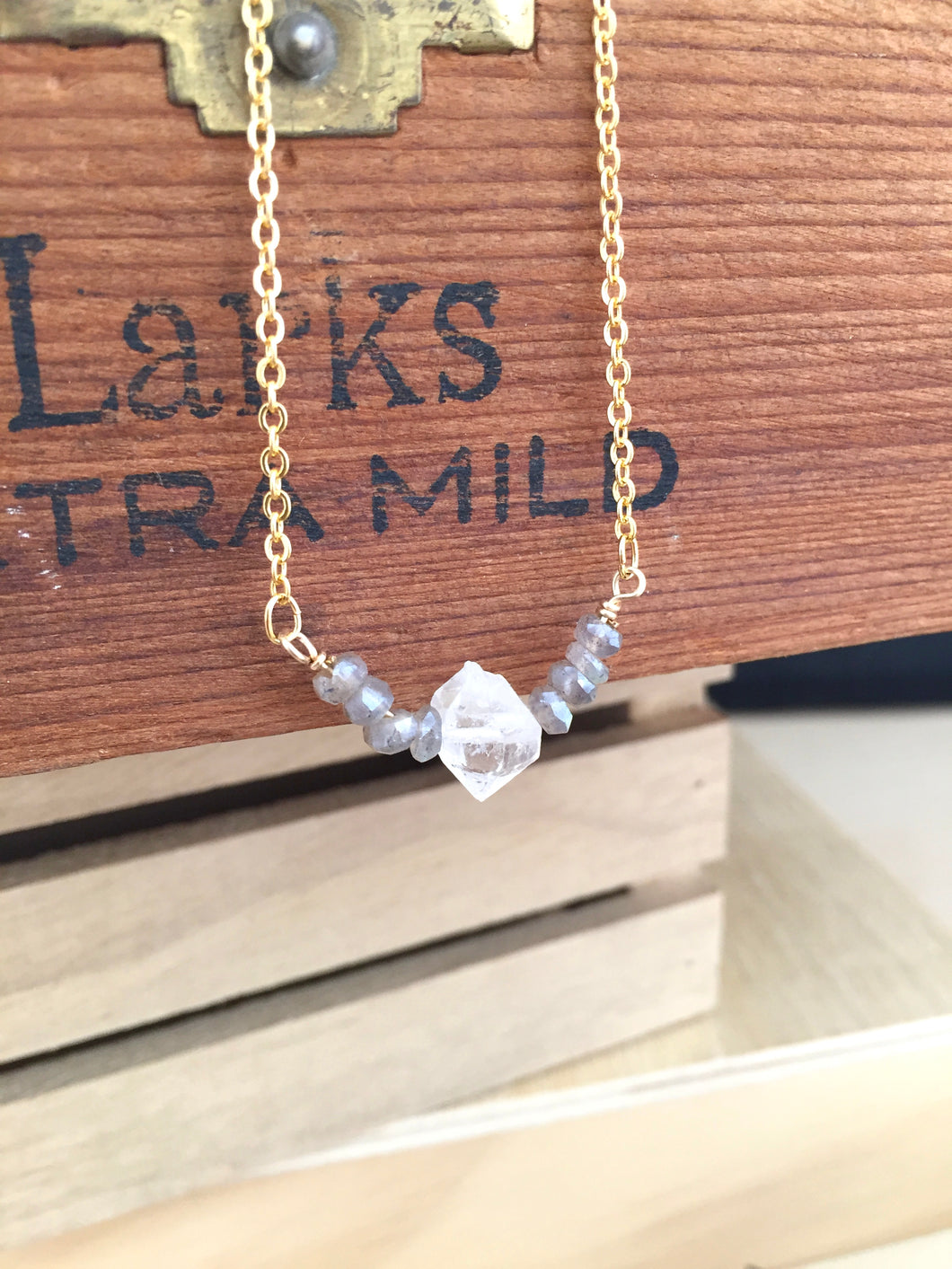 Herkimer Diamond and Labradorite Gemstone V Necklace - Gold finish - April Birthstone