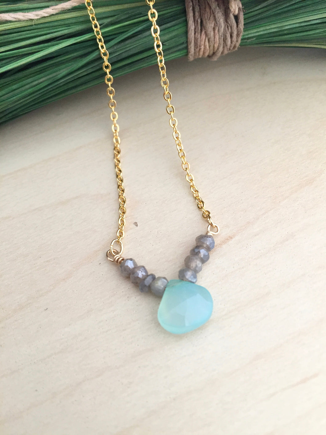 Aqua Chalcedony and grey labradorite v shaped pendant necklace