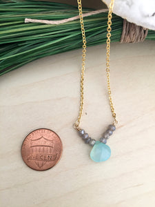 Aqua Chalcedony and Labradorite Gemstone V Necklace - Gold finish