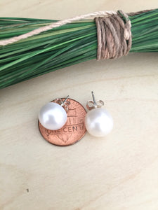 Large White Freshwater Pearl Earrings on Sterling Silver Posts 11mm
