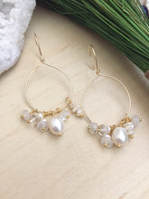 Load image into Gallery viewer, Gold Fill Hoops with White Pearl and Gemstone Dangles