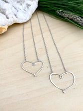 Load image into Gallery viewer, Open Hearts Necklace - Hammered textured Heart Necklaces