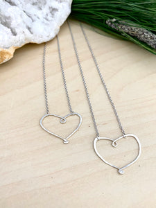 Open Hearts Necklace - Hammered textured Heart Necklaces