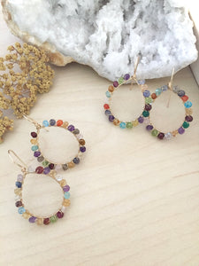 Confetti Gold Fill Hoops - Colorful Mixed Gemstone Hoops