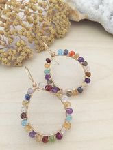 Load image into Gallery viewer, Confetti Gold Fill Hoops - Colorful Mixed Gemstone Hoops