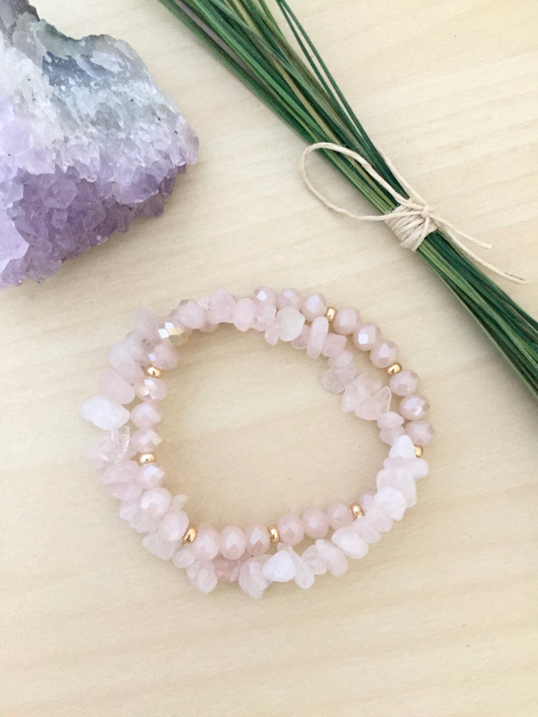Rose Quartz Wrap Bracelet with Blush Pink and Gold beads