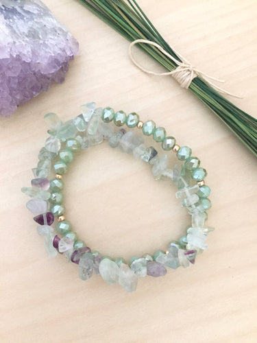 Fluorite Wrap Bracelet with Light Green and Gold beads