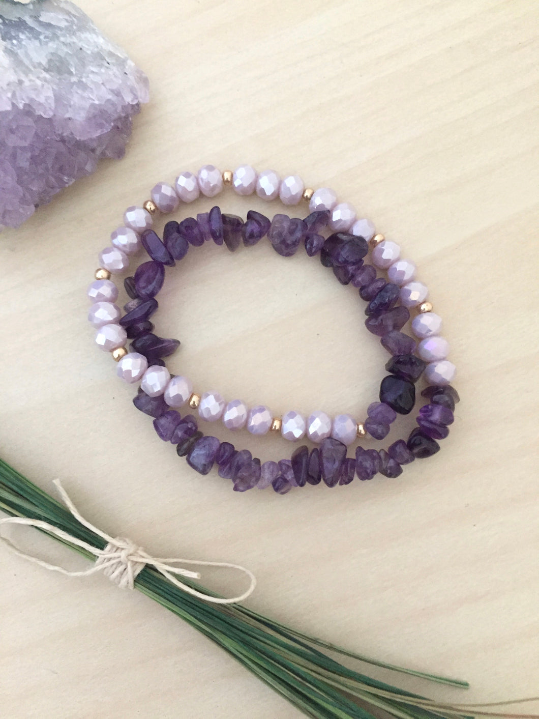 Amethyst Wrap Bracelet with Light Purple and Gold beads