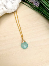 Load image into Gallery viewer, Aqua Blue Chalcedony Gemstone Drop Necklace