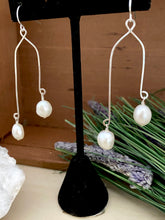 Load image into Gallery viewer, Double Drops Freshwater Pearl Earrings - Sterling Silver