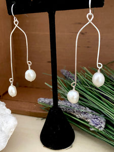 Double Drops Freshwater Pearl Earrings - Sterling Silver