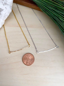 Hammered Bar Necklace - Gold Fill or Sterling Silver