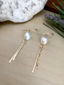 Pearl Dangle Earrings - Sterling Silver or Gold Fill