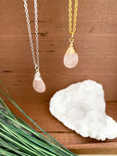 Load image into Gallery viewer, Rose Quartz Gemstone Drop Necklace