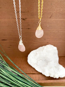 Rose Quartz Gemstone Drop Necklace