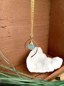 Unique wish bone shaped gemstone drop necklace with blue green gemstone