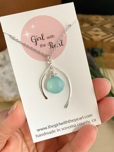 Wish Bone Necklace with a Aqua Blue Chalcedony Gemstone drop