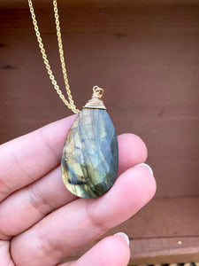 Large Labradorite Necklace wire wrapped in Gold Filled Wire