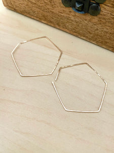 Geometric Hoop Earrings in Gold fill or Sterling Silver
