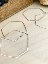 Load image into Gallery viewer, Geometric Hoop Earrings in Gold fill or Sterling Silver