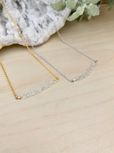 Herkimer Diamond Bar Necklace - 1 inch bar - April Birthstone