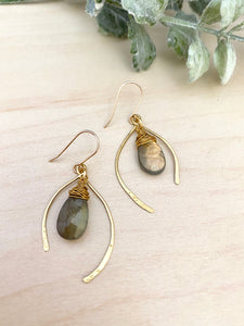 Wishbone Earrings with Labradorite