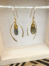 Load image into Gallery viewer, Wishbone Earrings with Labradorite