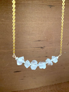 Large Herkimer Diamond Bar Necklace -2 inch bar - April Birthstone
