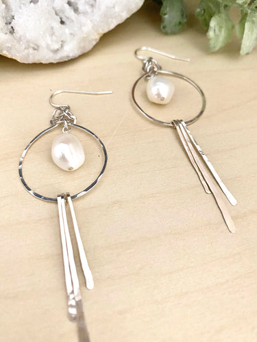 Sterling Silver Hoop Statement Earrings with Freshwater Pearl