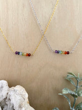 Load image into Gallery viewer, Rainbow Gemstone Bar Necklace - Pride Necklace