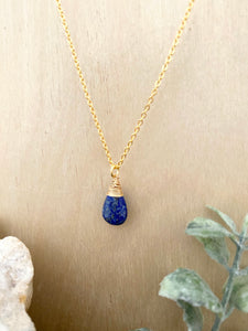 Lapis Lazuli Gemstone Drop Necklace