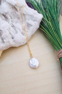 White Single Coin Pearl Necklace