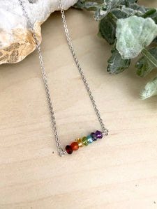 Rainbow Gemstone Bar Necklace - Pride Necklace