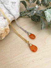 Load image into Gallery viewer, Carnelian Orange Gemstone Drop Necklace