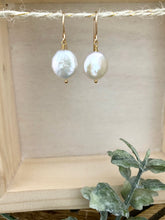 Load image into Gallery viewer, White Coin Pearl Earrings